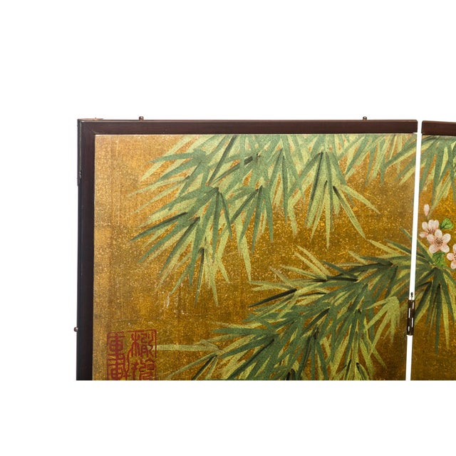 """Chinoiserie Lawrence & Scott Chinese Inspired """"Bamboo Scene With Poem"""" Hand-Painted Gold Foil 2-Panel Screen For Sale - Image 3 of 13"""