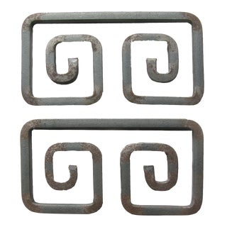 Greek Key Iron Architectural Elements, Pair For Sale