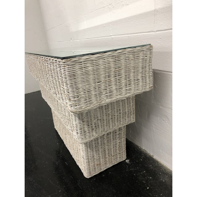 Vintage Boho Chic Wicker Basket Woven Console Table For Sale - Image 4 of 11