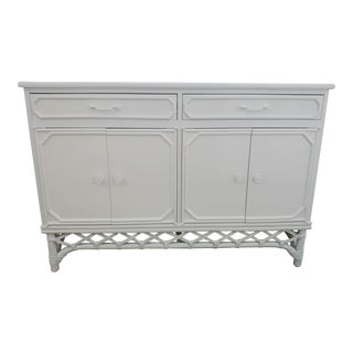 Ficks Reed White Lacquer, Diamond Rattan Sideboard Buffet For Sale