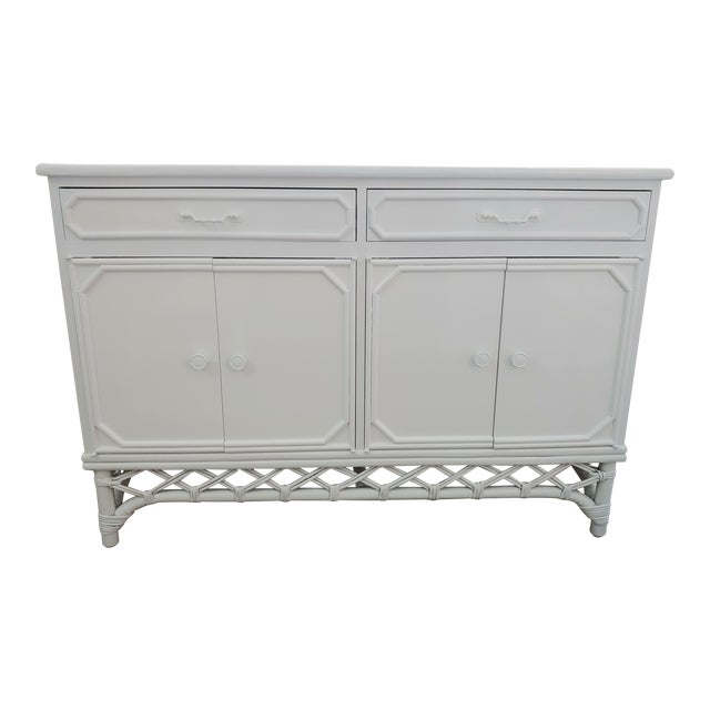 Superb Ficks Reed White Lacquer Diamond Rattan Sideboard Buffet Caraccident5 Cool Chair Designs And Ideas Caraccident5Info