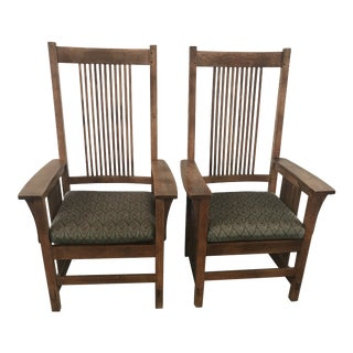 Late 20th Century Arts & Craft Mission Stickley Furniture Oak Host Arm Dining Chairs- A Pair For Sale