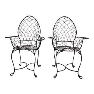 """Peacock"" Style Gardern Iron Chairs - a Pair"