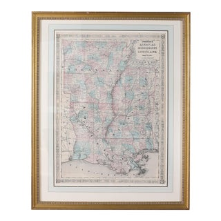 Giltwood Framed / Matted Library / Study Room Map For Sale