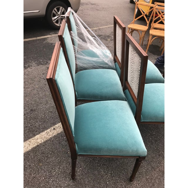 Custom Teal Velvet Dining Chairs - Set of 6 - Image 3 of 7
