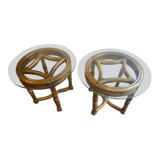 20th Century French Regency Gold Glass Table - a Pair For Sale