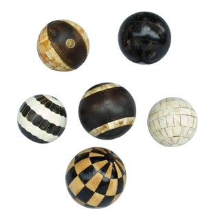 Collection of Six Decorative Tessellated Spheres