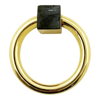 Addison Weeks Porter RIng Pull, Brass & Labradorite For Sale