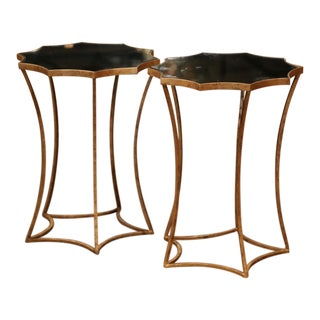Pair of Antiqued Brass and Smoked Mirrored Glass Side Tables For Sale