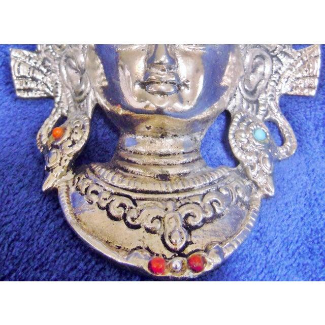 Tibetan Goddess Silver Mask Wall Hanging - Image 4 of 7