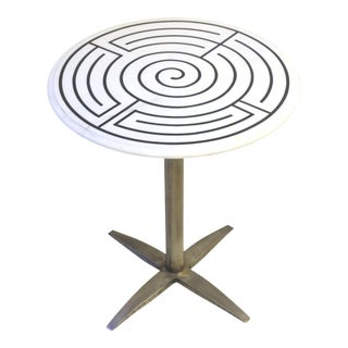 Round Steel and Marble Labyrinth Side Table For Sale