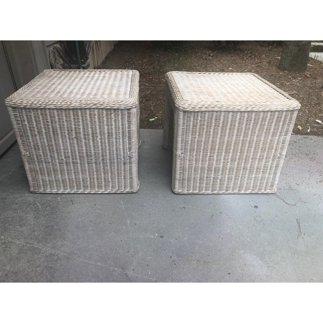Vintage Wicker End Tables - a Pair For Sale - Image 4 of 11