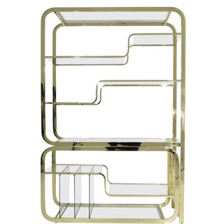 Mid-Century Modern Brass and Glass Modular Cantilever Etagere by Milo Baughman For Sale