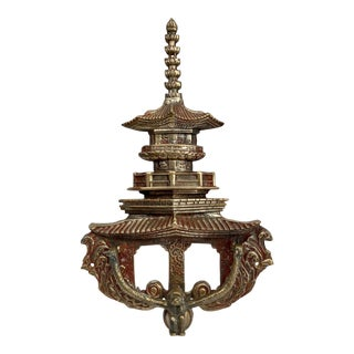 Chinoiserie Brass Pagoda Door Knocker For Sale