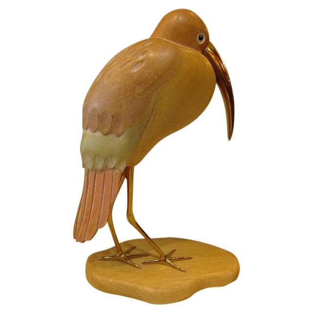 Carved Wood Sandpiper Sculpture - Image 1 of 4