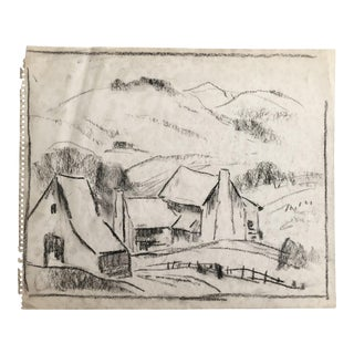 "1930s Vintage Eliot Clark ""Blue Ridge Farm"" American Impressionist Inspired Drawing For Sale"