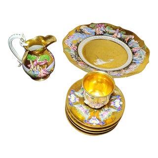 19th Century Ginori Doccia Relief Partial Tea Set - 7 Pieces For Sale