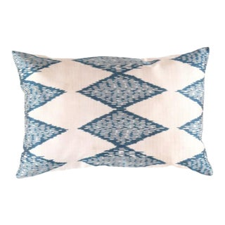 Ti 111 Turkish White & Blue Silk Ikat Pillow For Sale