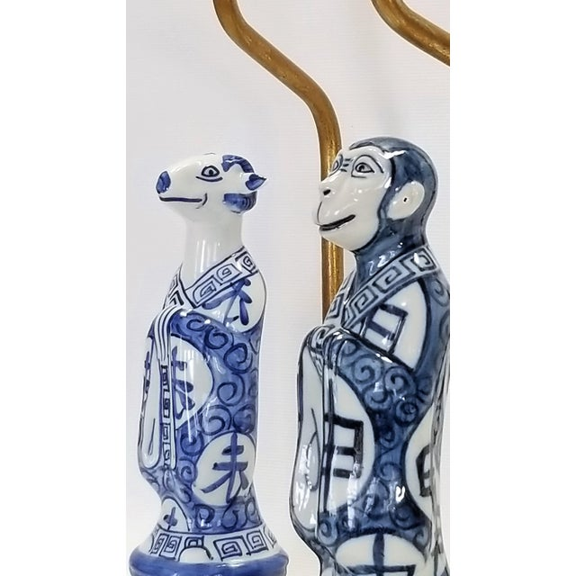 Metal Pair of Vintage Chinese Zodiac Porcelain Figurine Lamps - Asian Chinoiserie Palm Beach Boho Chic Mid Century Bedside For Sale - Image 7 of 13