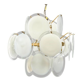 Gino Vistosi White Murano Glass Disc Chandelier, Italy 1970s For Sale