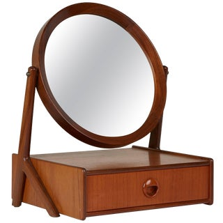 1950s Norwegian Talgos Mobelfabrikk Teak Tilting Vanity Mirror For Sale