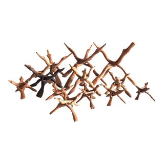 Art Installation of Hand Carved Interlocking Stands - Set of 12 For Sale