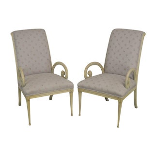 Grosfeld House 1940's Hollywood Regency Pair Carved Armchairs For Sale