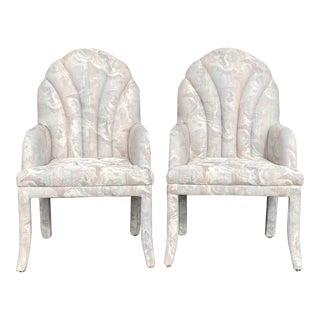 1980s Fully Upholstered Chairs - a Pair (A) For Sale