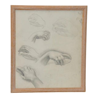 1960's Vintage Graphite Study of Various Hand Positions For Sale