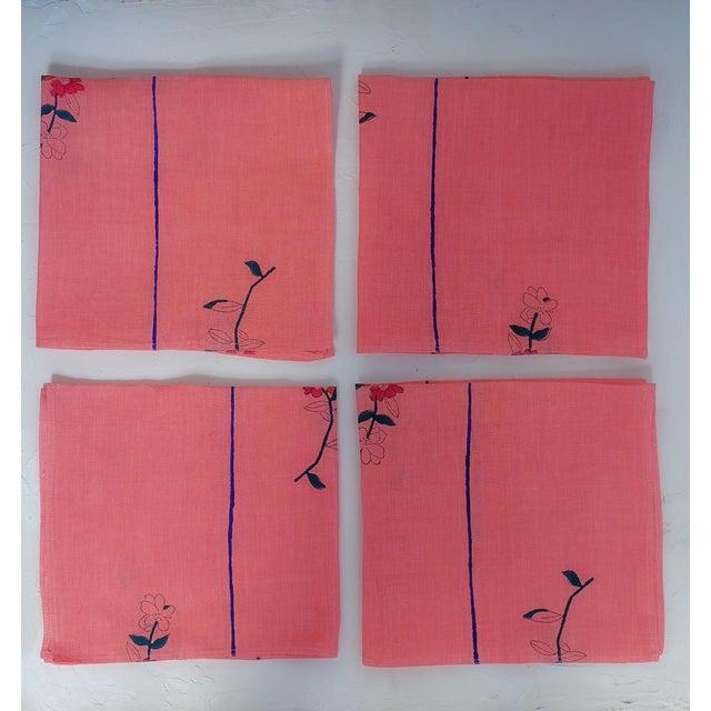 Zeenat Handwoven & Block-Printed Table Napkins - Set of 4 For Sale - Image 4 of 4