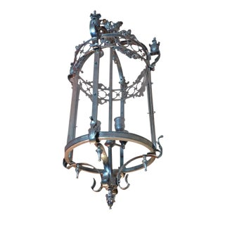 French 1950s Wrought Iron and Polished Chrome and Glass Circular Lantern For Sale
