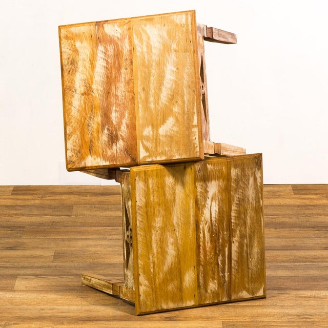Reclaimed Wood Side Tables - a Pair For Sale - Image 4 of 6