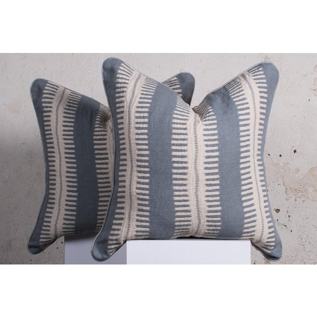 2020s Pair of Custom Boho Striped Pillows For Sale - Image 5 of 5