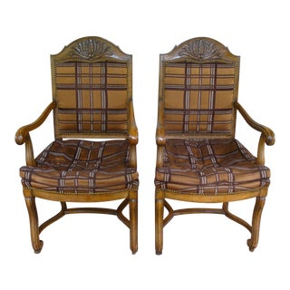 Vintage Carved French Country Armchairs - a Pair