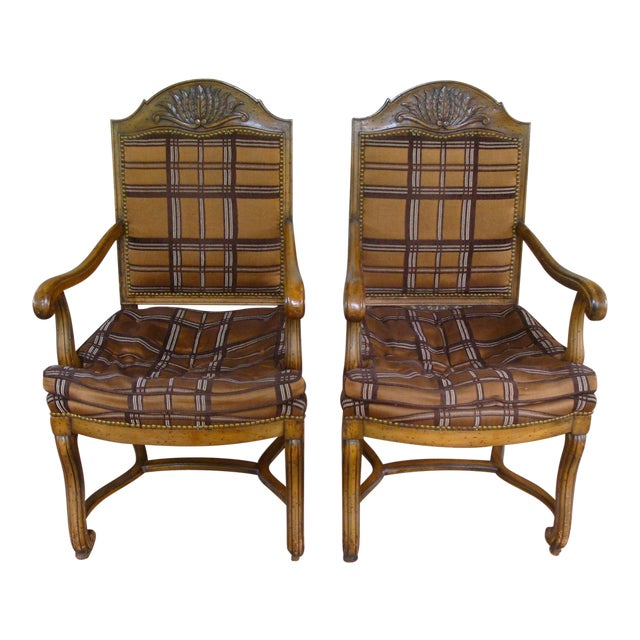 Vintage Carved French Country Armchairs - a Pair For Sale