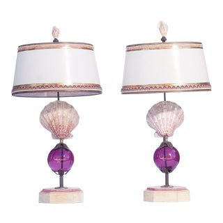 21st C. Shell Lamps With Murano Glass For Sale