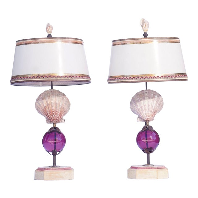 Vintage Shell Lamps With Murano Glass For Sale