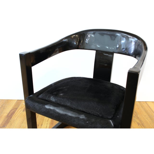 Wood Karl Springer Modern 'Onassis' Black Lacquer Armchairs With Pony Hair Seats For Sale - Image 7 of 12