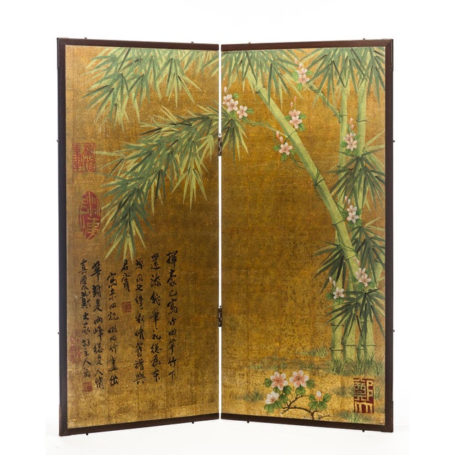 """Lawrence & Scott Chinese Inspired """"Bamboo Scene With Poem"""" Hand-Painted Gold Foil 2-Panel Screen For Sale - Image 9 of 13"""