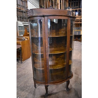 Antique Curved Glass Dining Room China Cabinet Preview