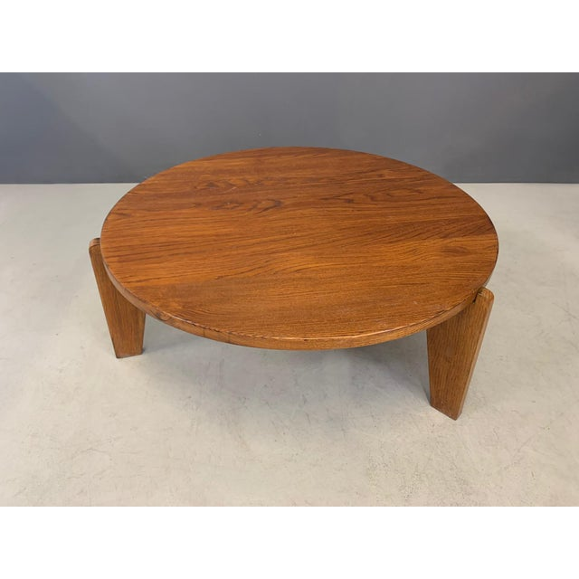 Important and rare coffee table designed by Jean Prouvè in 1950. The coffee table is the prestigious Africa series. Round...