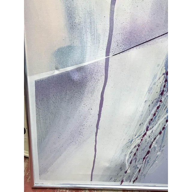 Large Mid Century Abstract - Colors in Purple and Blue - Image 5 of 8