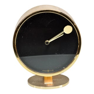 Howard Miller Classic Modern 1970s Desk Table Clock in Patinated Brass For Sale