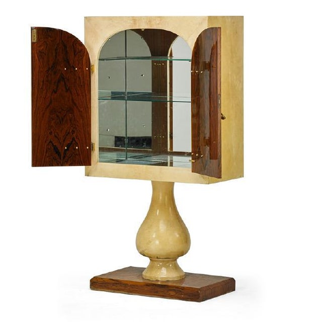 Art Deco 1970's Illuminated Bar Cabinet by Aldo Tura For Sale - Image 3 of 8