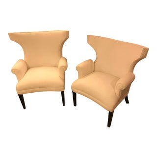 Custom-Designed, Modern Wingback Chairs, a Pair For Sale