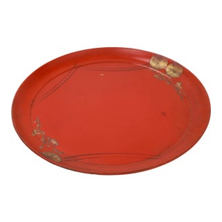 Early 20th Century Vintage Bold Red Wooden Plate Decorated For Sale