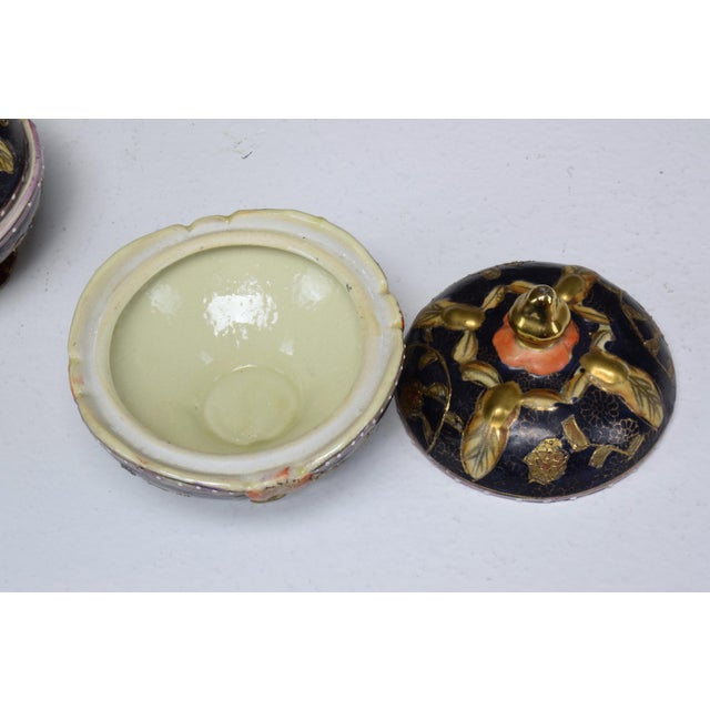 Ceramic Pair of Antique Japanese Meiji Period Porcelain Trinket or Jewelry Boxes For Sale - Image 7 of 13