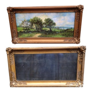 Antique Victorian Worn Gold Finish Plaster Frames - A Pair For Sale