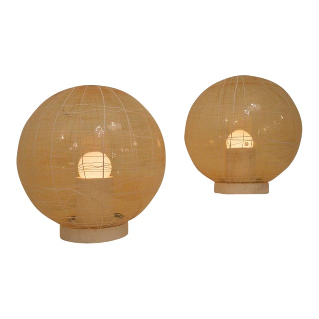 Pair of Large Murano Floor Lamps by La Murina on a Travertine Base For Sale