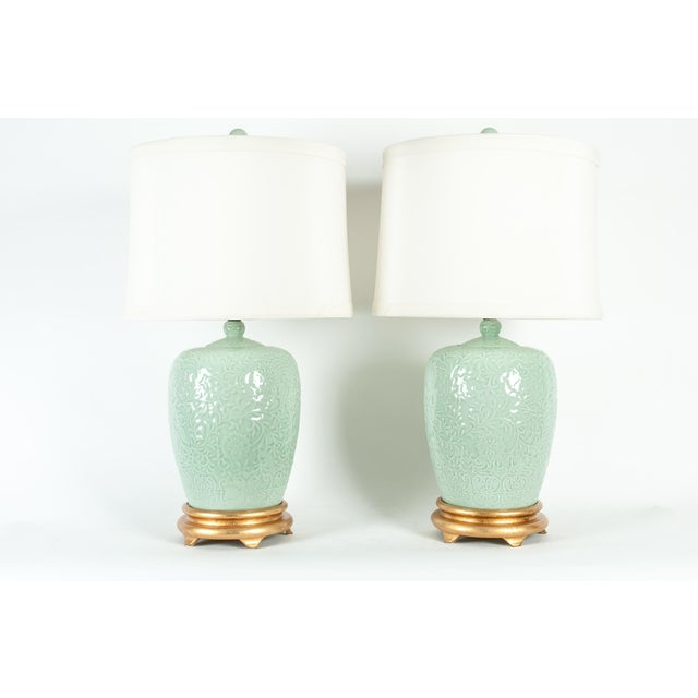 Mid-Century Modern Mid Century Porcelain Lamp / Gilded Wooden Base - a Pair For Sale - Image 3 of 13